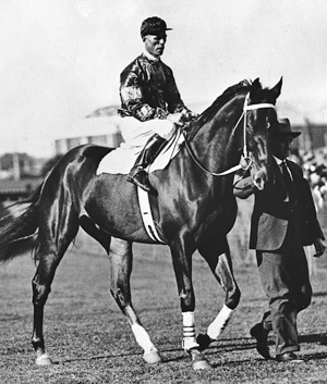 Phar Lap, with Jimmy Pike and Tommy Woodcock in 1930.