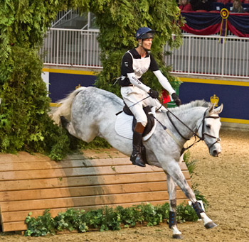 William Fox-Pitt of Great Britain piloted Autorytet around the Horseware Indoor Eventing course, designed by Captian Mark Phillips. The pair sit in fifth overall, leading into tomorrow night's final round.