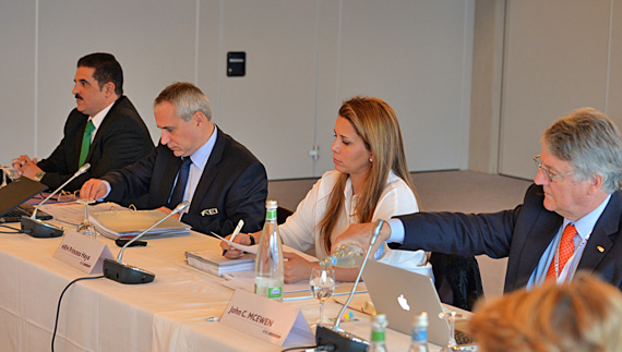 FEI President Princess Haya, with, from left, Sheikh Khalid Bin Abdullah Al Khalifa (BRN), FEI Secretary General Ingmar de Vos; FEI Executive Board member and Chair of Group VII; and John McEwen MBE (GBR), 1st Vice-President and Chair of the Veterinary Committee.