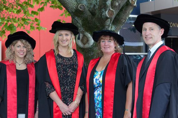 Institute of Veterinary, Animal and Biomedical Sciences PhD graduates Dr Danielle Aberdein, Dr Kerri Morgan, Dr Sarah Taylor and Dr Eric Neumann.