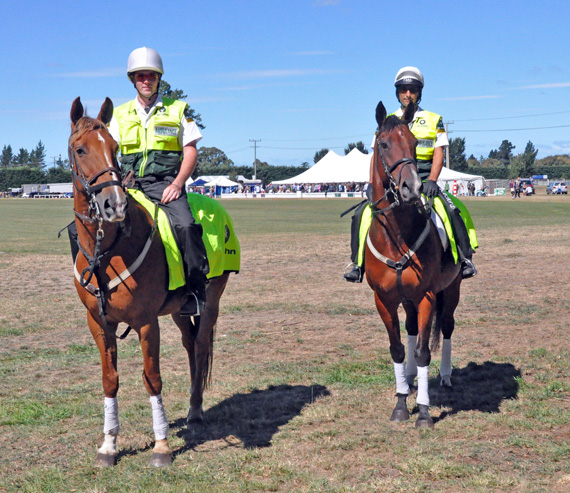 St John Mounted Officers, from left, James Stewart on Paddy, and Corey Milnes, on Frank (Red Hot Chilli).