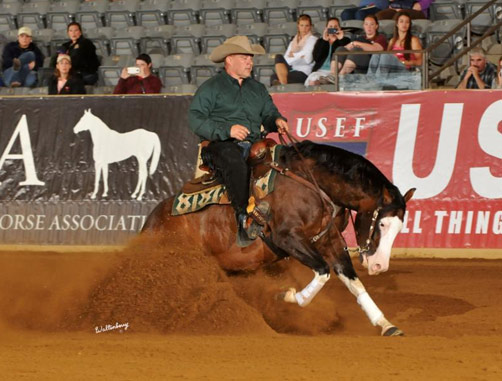 Shawn Flarida and Spooks Gotta Whiz, winner of the Kentucky Reining Cup.
