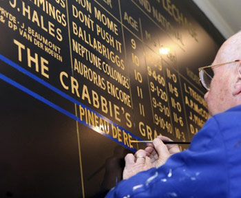 Pineau De Re's name goes up on the winner's board.