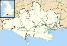 Location of Bridport in Dorset.