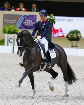 Great Britain's Charlotte Dujardin and Valegro set yet another new world record when scoring 87.129 to win the Grand Prix at the Reem Acra FEI World Cup Dressage Final in Lyon, France.