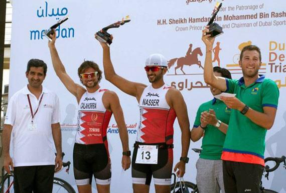 From left, Dubai Sports Council Secretary General Dr Ahmed Saad Al Sharif,  Mikel Calahorra, Sheikh Nasser Bin Hamed Al Khalifa, and Diego Bellon Santos.