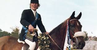 Eddie Macken and Boomerang with the gold Hickstead Derby Trophy they won outright in 1979.