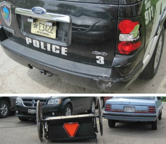 The police vehicle sustained minor damage in the buggy incident.