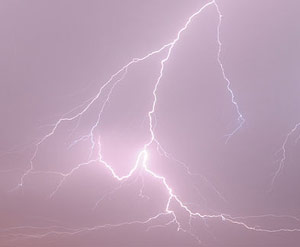 Four people were injured during a lightning strike at a three-day-event in Bulgaria on Saturday.