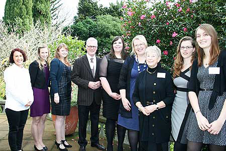 Hannah Gibson, third from left, is among several women who received grants from the Graduate Women Manawatu Charitable Trust this year. She is pictured with, from left, Tamyra Matthews, Nicole Steele, Vice-Chancellor Steve Maharey, Megan Gildersleve, Vicki Campbell, Jean Corbin-Thomas - Chair of the Graduate Women Manawatu Charitable Trust, Poppy Miller, and Amber Mellor.
