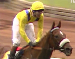 Vintage Crop and Mick Kinane after winning the 1993 Melbourne Cup.