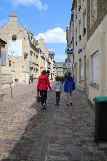 Strolling in the beautiful town of Bayeaux.