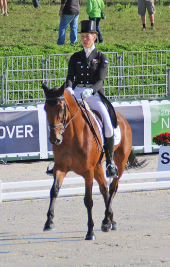 New Zealand's Lucy Jackson is in ninth equal place after the dressage on Willy Do.
