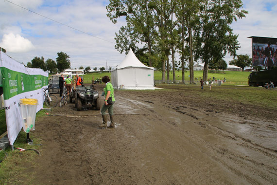 The rain in Caen falls mainly on ... the eventing venue, making for a muddy time for all.