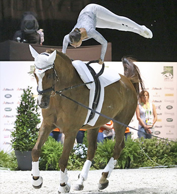 Dutch vaulter Claire de Ridder has come back from a terrible injury to compete at Normandy. Only 13 months ago a horse trod on her ankle during a dismount. She was able to vault again only in May, and has two plates and 10 bolts still in her ankle.