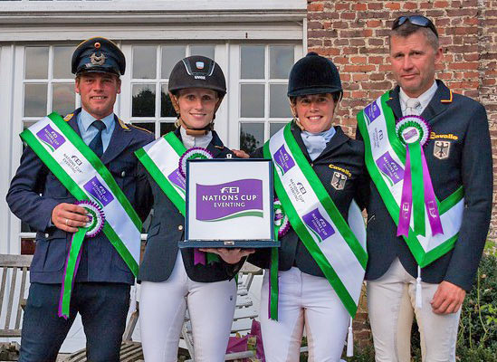 The winning German team, from left, Andreas Ostholt, Anna-Maria Rieke, Josefa Sommer and Andreas Dibowski at Waregem.