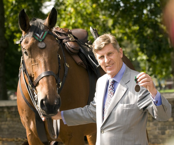 Warrior's medal was accepted at the London ceremony by author and broadcaster Brough Scott, the grandson of Warrior's owner and rider, General Jack Seely. The pictured horse is Benjamin Buckram.