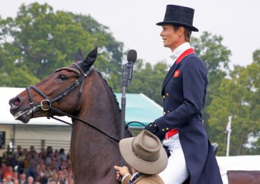 William Fox-Pitt on Bay My Hero being interviewed by Matt Ryan at the Burghley Horse Trials last year. © Mike Bain
