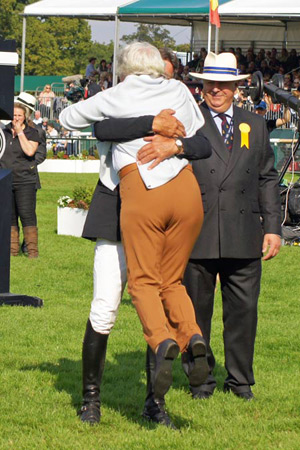 Andrew Nicholson celebrating his third consecutive win at Burghley with Avebury's owner Rosemary Barlow.