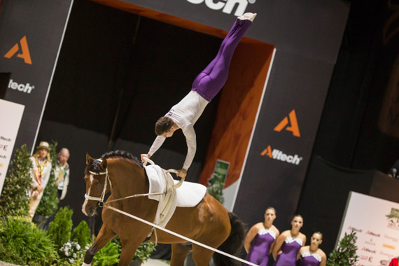 Team Austria won the Squad Compulsory round on the first day of vaulting at WEG.
