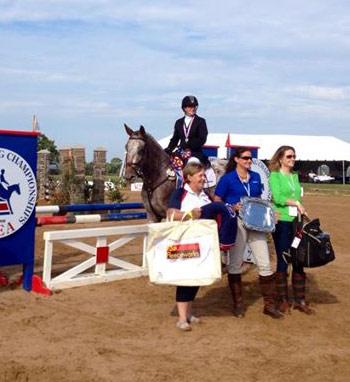 Corinna Garcia and  Novice Horse division winner Jamaica Skodstrupp, a knabstrupper mare.
