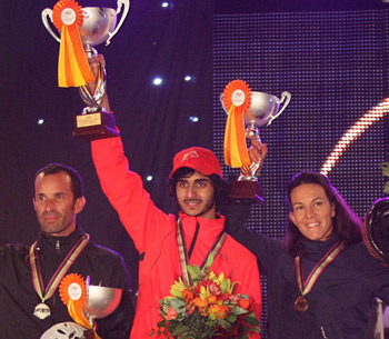 Winners of the FEI World Endurance Championships for Young Horses 2014 held in Slovakia. The UAE's Mansour Saeed Mohd Al Faresi (centre) took gold, ahead of silver medallist Jean Philippe Frances (left) and bronze medallist Aurelie Cambe (right), both from France.