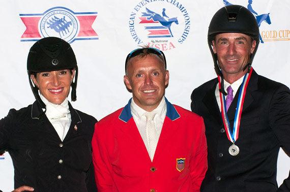 $40,000 Adequan USEA Gold Cup Final winners, from left, Laine Ashker (2nd), Buck Davidson (1st) and Matthew Brown (3rd).