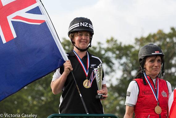 Cherie Stalker on the podium, with bronze medalist Henriette Bendorff of Denmark.