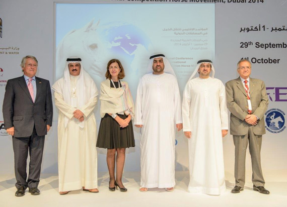Pictured at the conference are, from left, John McEwen, FEI 1st Vice-President and Chair of the FEI Veterinary Committee; Sheikh Khaled Bin Abdullah Al Khalifa, FEI Executive Board member and chairman of FEI Group VII; Dr Monique Eloit, deputy director general of the OIE; Dr Rashid Ahmed bin Fahed, Minister of Environment and Water for the United Arab Emirates; Mohamed Ahmed Abdel Aziz Al Shehhi, board member of the Emirates Racing Authority; and Dr Ghazi Yehia, OIE regional representative for the Middle East. Photo: Ministry of Environment and Water, United Arab Emirates.