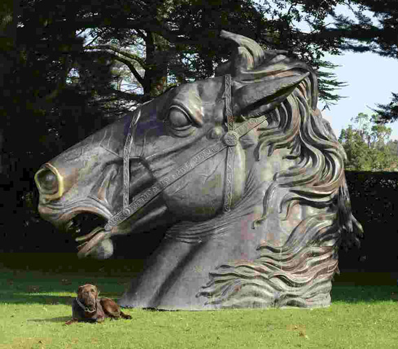 The two horse-head bronzes being offered at the sale each stand 3.2 metres high.