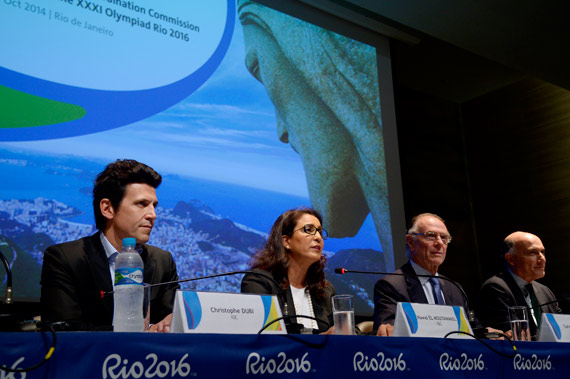 From left, Christophe Dubi, IOC Executive Director for the Olympic Games; Nawal El Moutawakel, Chair of the IOC Coordination Commission for Rio 2016 Games; Carlos Arthur Nuzman, President; and Sidney Levy, CEO of the Organizing Committee for the Rio 2016 Olympic and Paralympic Games.