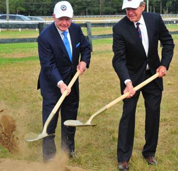 Richard Duchossois and Jack Wetzel break ground for Bruce's Field.