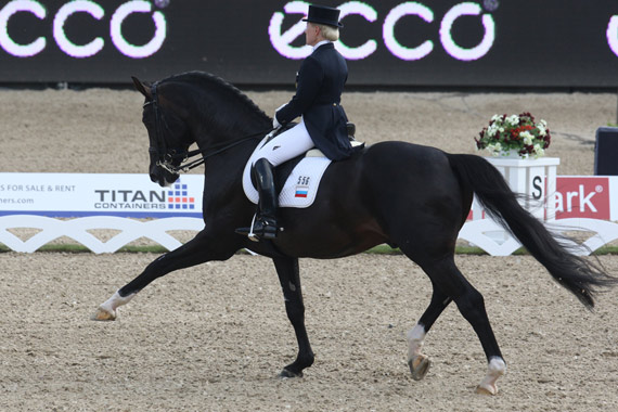 Russia's Elena Sidneva, riding Romeo Star, has won the FEI World Cup Dressage 2014/2015 Central European League.