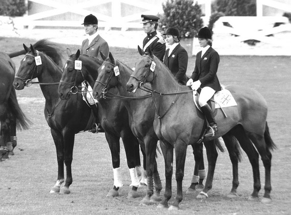 Richard Meade, at far left on Laurieston, with the British team of, from left, Mark Phillips (Great Ovation), Bridget Parker (Cornish Gold), and Mary Gordon-Watson (Cornishman V) after winning gold at the 1972 Olympic Games.