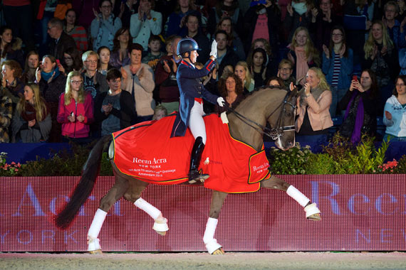 Reigning champions, Great Britain's Charlotte Dujardin and Valegro, strutted to victory once again at the sixth leg of the Reem Acra FEI World Cup Dressage 2014/2015 Western European League in Amsterdam, The Netherlands, on Saturday .