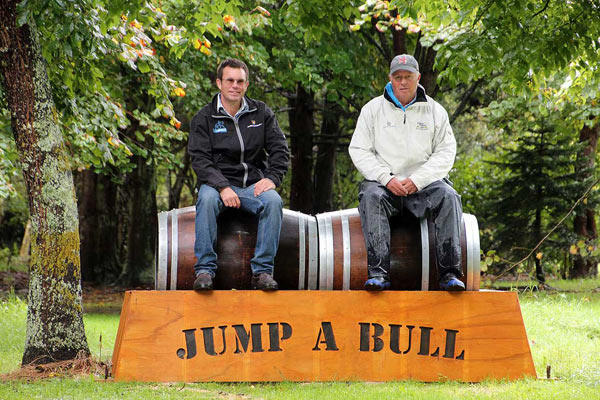 Dr Chris Rogers, left, and course designer Andrew Scott on one of the cross-country obstacles.