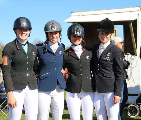 New Zealand's winning Young Rider team, from left, Abigail Long, Tayla Mason, Bonnie Farrant and Sarah Young.