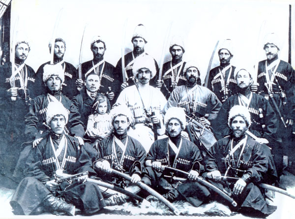 A group of Georgian trick riders, photographed around 1903.