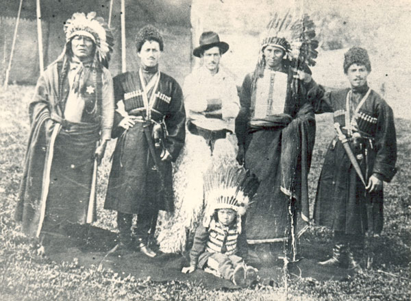Georgian trick riders pose with American performers in one of the Wild West shows.
