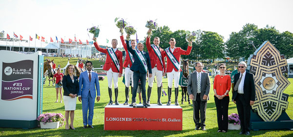 At the prize-giving for the Furusiyya FEI Nations Cup Jumping qualifier at St Gallen, Switzerland where Belgium were victorious, from left, Sabrina Zeender, FEI Secretary General; Farouk Mohamad Wazeer Ali, Saudi Arabian Chargé d'affaires to Switzerland; winning Belgian team Niels Bruynseels, Pieter Devos, Dirk Demeersmann (Chef d'Equipe), Greogry Wathelet, Jos Verlooy; Markus Straub, Präsident des Kantonsrates des Kantons St. Gallen; Nayla Stössel, President of Organising Committee CSIO St. Gallen and Urs Schiendorfer, Event Director CSIO St. Gallen.