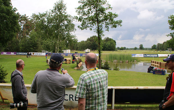 Captain Mark Phillips points out a feature of one of the water jumps on the cross-country course at Luhmühlen.