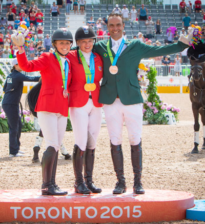 Jessica Phoenix (CAN), Marilyn Little (USA), and Ruy Fonseca (BRA) on the podium for Individual Medals in Eventing at the Toronto 2015 Pan American Games in Caledon, Ontario, Canada.