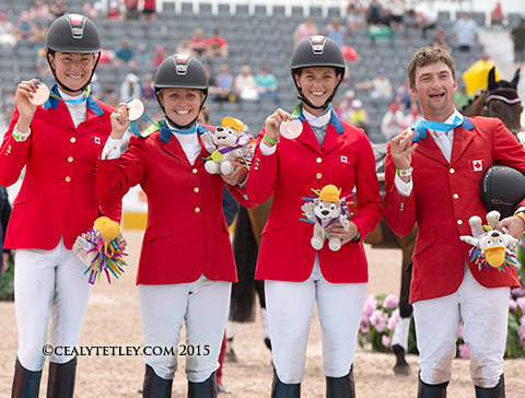 The Canadian Eventing Team claimed the team bronze medal at the Toronto 2015 Pan American Games.  From left, Kathryn Robinson, Jessica Phoenix, Colleen Loach and Waylon Roberts.