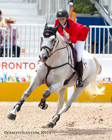 Canada's Colleen Loach of Dunham, QC, finished eighth individually in her major games debut riding Qorry Blue d'Argouges.