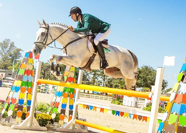 Marcio Jorge (BRA) and Coronel MCJ on their way to a flawless Jumping round to claim gold at the Aquece Rio International Horse Trials, the test event held at the Deodoro Olympic Equestrian Centre.