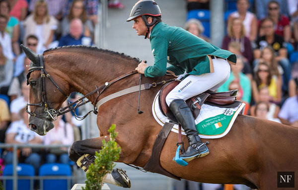 Denis Lynch and All Star 5 delivering a clear round at Aachen.