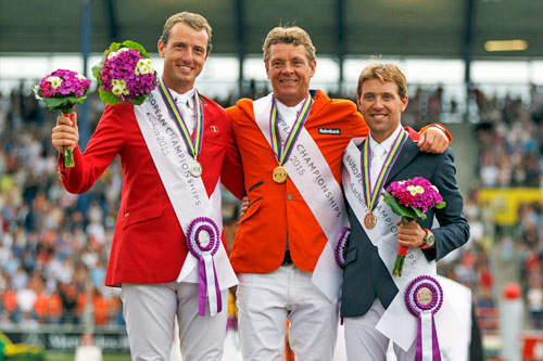 On the podium for the FEI European individual Jumping Final in Aachen, Germany, from left, Gregory Wathelet (BEL) silver, Jeroen Dubbeldam (NED) gold and Simon Delestre (FRA) bronze.