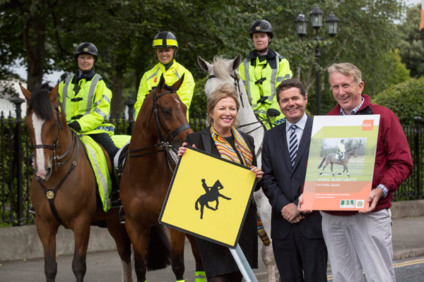 Liz O'Donnell, Chairperson, RSA is pictured with Minister for Transport, Tourism and Sport, Mr Paschal Donohoe TD and Mr Pat Wall, Chairman of the HSI at the launch of the a new booklet from the Road Safety Authority in association with Horse Sport Ireland, 'Horse Road Safety on Public Roads', advising road-users and riders on sharing the road safely. Also pictured is Garda Orva Keogh on Donagh, Melanie Young of Team Ireland Equestrian u25 eventing squad on Dante and Garda Claire Anderson on Oscar.