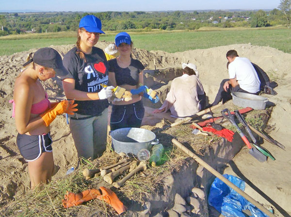 The archaeological team at work.