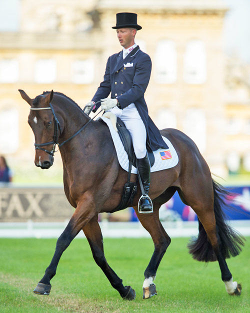 Blenheim Palace International Horse Trials CCI3* leaders Clark Montgomery (USA) and Loughan Glen.